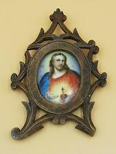 ANTICO DIPINTO PITTURA SU CERAMICA MINIATURA QUADRO RITRATTO CRISTO Gesù Cornice