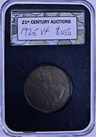 CB2693) Australia 1925 Penny, lovely chocolate coloured vf coin, 6 pearls