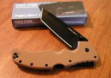 COLD STEEL New Coyote Tan Recon I Black Plain CTS-XHP Tanto Blade Knife/Knives