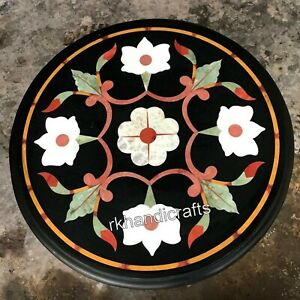 14 Inches Floral Pattern Inlay Side Table Top Round Marble Coffee Table for Home