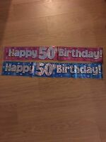 50th BIRTHDAY BANNERS PARTY DECORATIONS PINK BLUE COLOURS