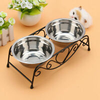 Pet Food Bowl Dog Cat Water Iron Stand Stainless Steel Double Dish Puppy Feeder