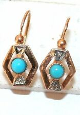 ANTIQUE VICTORIAN FRENCH 18K GOLD TURQUOISE HAND MADE CHILD SMALL EARRINGS c1900
