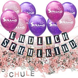 Schuleinführung Schulanfang Einschulung Deko Set - Girlande + Ballons + Konfetti