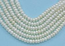 3-4mm White Ivory Rondelle Button Freshwater Pearls Beads A for Jewellery Making