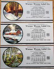Warner Woven Label Co. 1940 Advertising Blotters SET OF THREE w/Calendars
