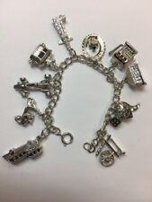 42.6g Estate CREA STERLING Silver Charm Bracelet Vintage Slot w/ Lever Las Vegas