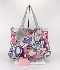 Coach 17929 Poppy Signature MultiColor Graphic Large Montage Glam Tote Bag Purse