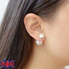 Women Double Sided Pearl Stud Silver Earrings - UK Free P&P
