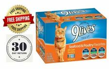 Wet Cat Food 9Lives Seafood & Poultry (24 Pack), 5.5 Oz, Hot, Free Shipping