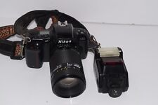Nikon AF N6006 35mm Camera w/ AF Nikkor 70-210mm 1:4-5.6 Telephoto Lens & Flash