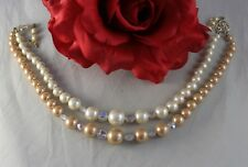 Vintage Japan 2 Strand Faux Pearl Beaded Necklace Cat Rescue