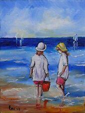 Peinture de CARIN 18 x 14 cm pêche sur la plage enfants Toile impressionisme