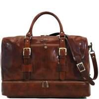 Floto Italian Leather Drop Bottom Duffle Bag Weekender Suitcase Travel Bag