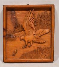 Vintage Canadian Folk Art Carved Plaque Hawk & Rabbit Signed Louis Beaupres