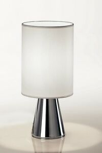 Bedside Lamp Lumetto Modern Chrome Steel And Lampshade White