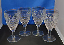 """4 Excellent Fostoria American 6 7/8"""" Footed Water Goblets, Hexagon Bases"""