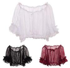 Women Puff Sleeve Dots Chiffon Bottoming Shirt Lolita Short Sleeve Blouse Tops