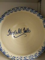 "Vintage East Texas pottery popcorn bowl ""That's All Folks!"" Blue white"
