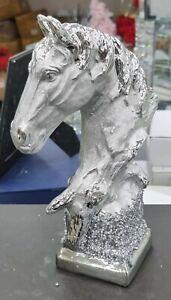 ITALIAN SILVER HORSE HEAD ROMANY BLING ORNAMENT CERAMIC CRUSH DIAMOND DECOR ✨