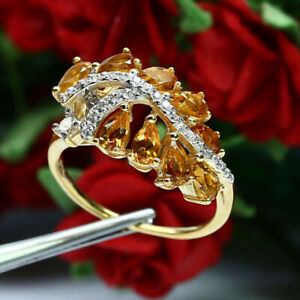 NATURAL VVS 3 X 5 mm. PEAR GOLDEN YELLOW CITRINE & CZ RING 925 STERLING SILVER