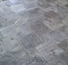 Silver French Pattern Travertine Tumbled Pavers 13mm Thick Tile Premium Quality