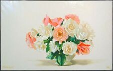 Michael Huggins PINK AND WHITE ROSES Original Oil Painting on Canvas MAKE OFFER