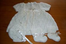 'HEIRLOOM  ACRYLIC DRESS,BONNET AND BOOTEE SET [ HAND KNITTED AND EMBROIDERED]