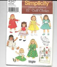 "Simplicity American Girl Doll or 18"" Dolls Clothes pattern 4347"