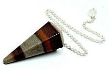 Lingam Pendulum Lingham Narmada Gemstone Faceted Divination Tool Quartz & Box