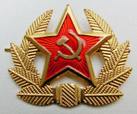 Soviet Russian Army Red Star Hammer & Sickle Hat Badge * USSR Military Cockade