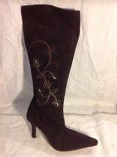 Next Dark Brown Knee High Suede Boots Size 5