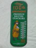 "vintage 1976 PREMIUM SALTINE CRACKERS THERMOMTER 100th anniversary 16"" tall"