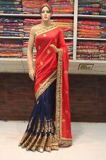 Bollywood Indian Ethnic Heavy Skirt Tusser Silk Saree Sari Bridal Party Dress