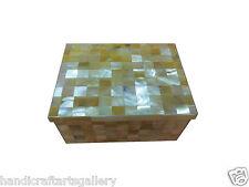"3""x4"" Marble Abalone Jewelry Box Inlay Mosaic Checks Handmade Decorative H586"