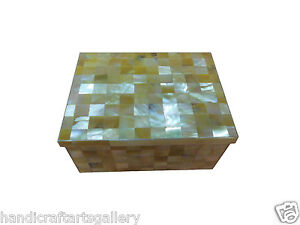 "3""x4"" Marble Abalone Jewelry Box Inlay Mosaic Checks Handmade Decorative H586"