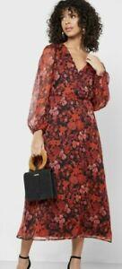BNWT Mango Floral Print Wrap Midi Dress Red Multi Size S UK 8 10