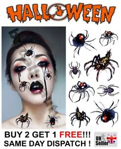 Halloween Temporary Fake Tattoo Black Widow Spiders Bugs Body Art Face Make up