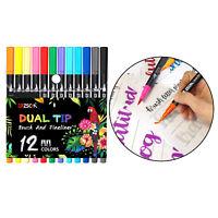 12 colori Dual Brush Penne Colorate Arte Marcatori Fine & Pennello Punta