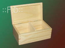 Wooden box for tea unpaited decoupage art craft plain chest 2 sections