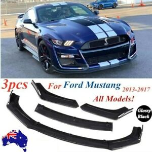 Glossy Black Front Bumper Lip Kit Spoiler Fit For 2013-2017 Ford Mustang
