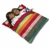 """Doll Bedding Striped Pattern Reversible Twin Doll Sleepover Bag for 18""""inc Dolls"""