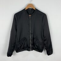 Zara Jacket Womens Medium Black Long Sleeve Frilly Full Zip Lightweight Bomber