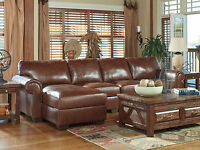 HELENA Traditional Sectional Brown Leather Living Room Set Sofa Couch Chaise NEW