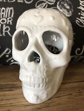 💀NEW Gothic White Sugar Skull Ceramic Oil/Wax Melt Burner Tea Light Candle inc