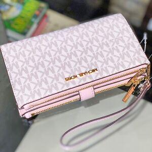 Michael Kors Jet Set Travel Large Double Zip Wristlet Wallet Pink Powder Vanilla