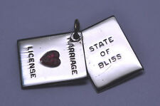 VINTAGE STERLING SILVER MARRIAGE LICENSE CHARM SLIDES OPEN STATE OF BLISS