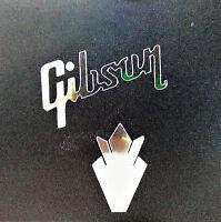 Gibson Guitar Headstock Crown & Logo, Die-Cut Decal OEM, 0.2% Silver Ore Luthier