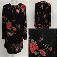 Dorothy Perkins Women's Shift Dress Black Floral Bird Print Long Sleeve Work 10