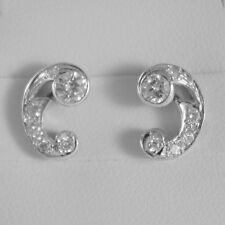 18K WHITE GOLD CURVE EARRINGS WITH DIAMOND DIAMONDS 0.70 CARATS MADE IN ITALY